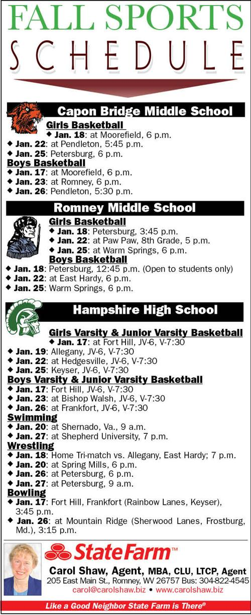 Sports Schedule Jan 17-27 | Sports | hampshirereview com