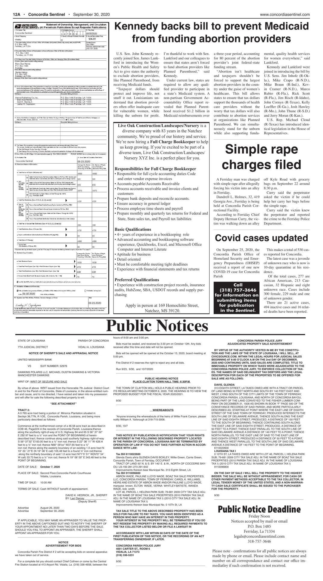 Public Notices - Sept. 30, 2020