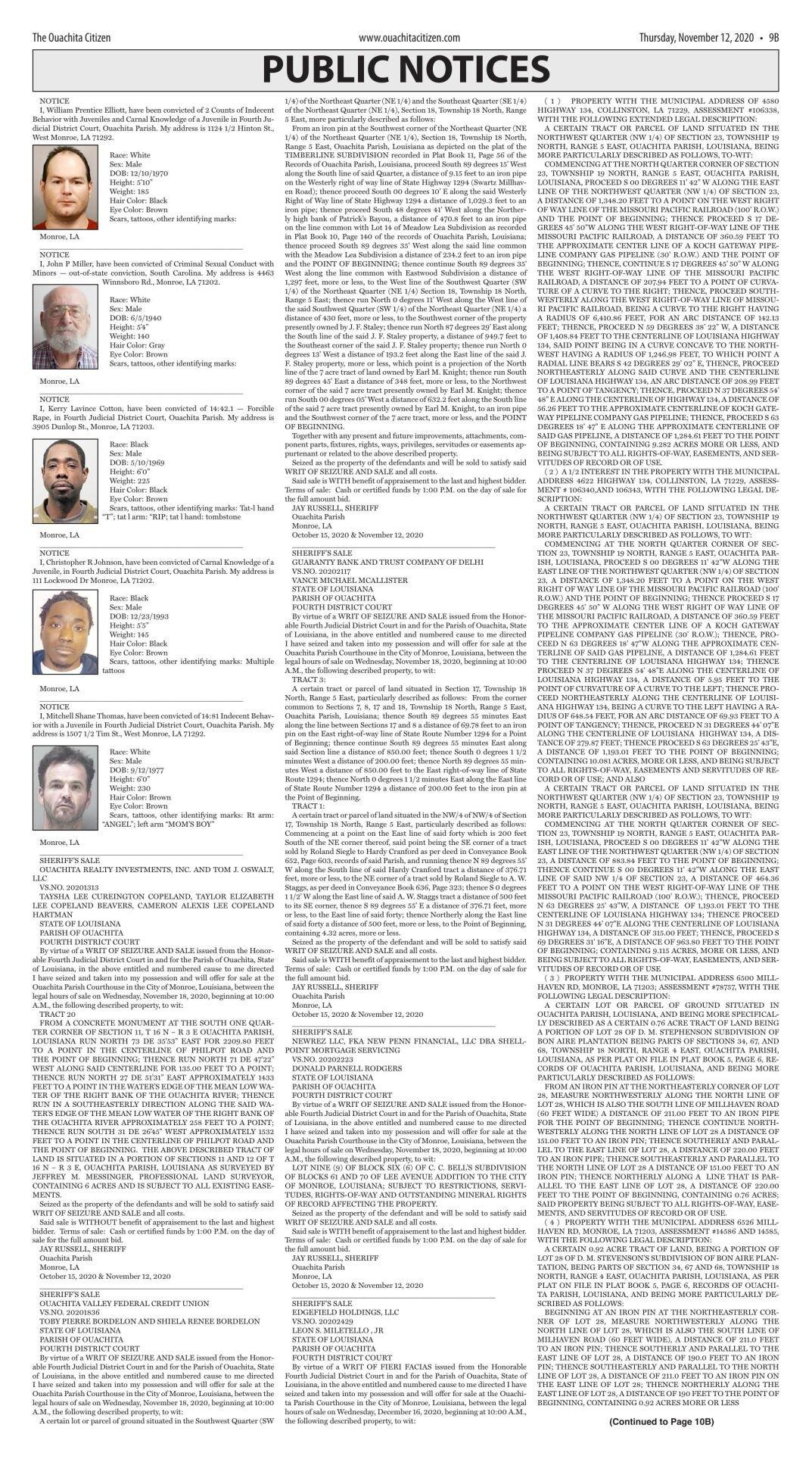 Nov. 12, 2020 Public Notices, click to download pages