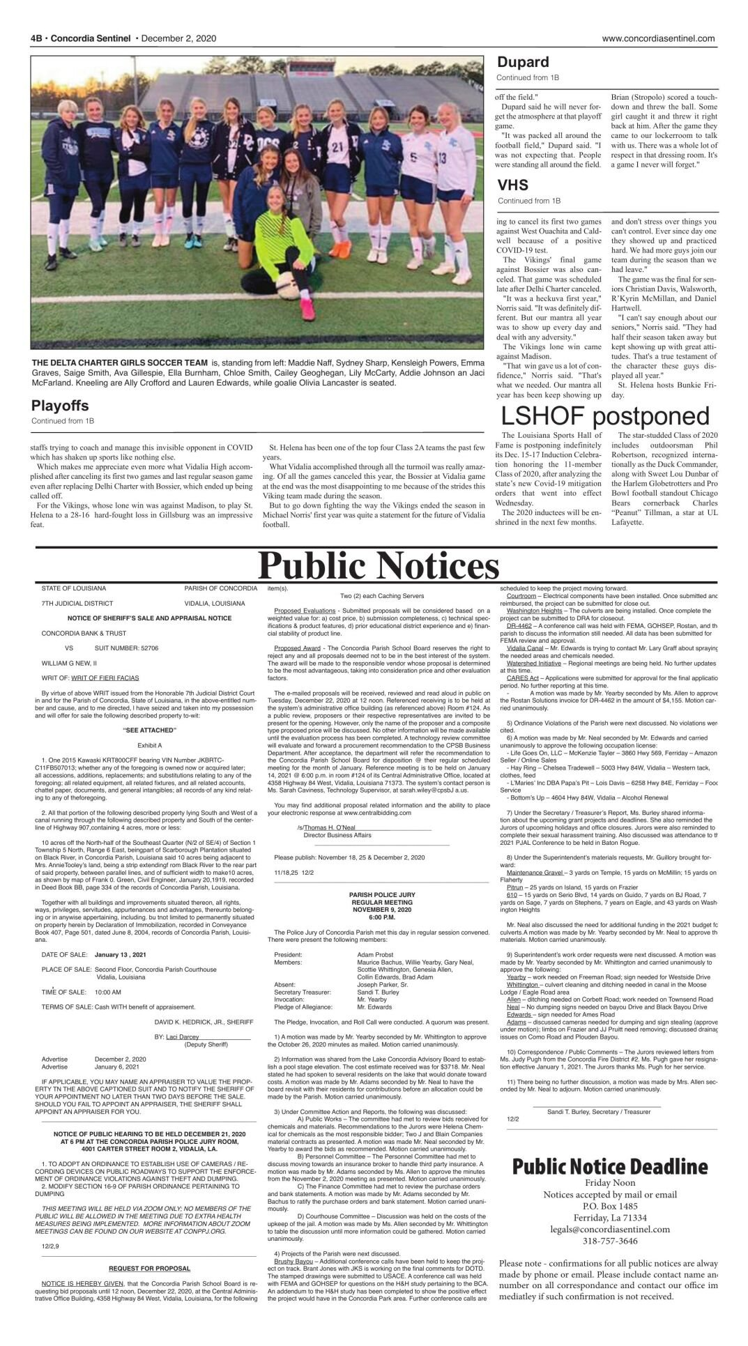 Public Notices - Dec. 2, 2020