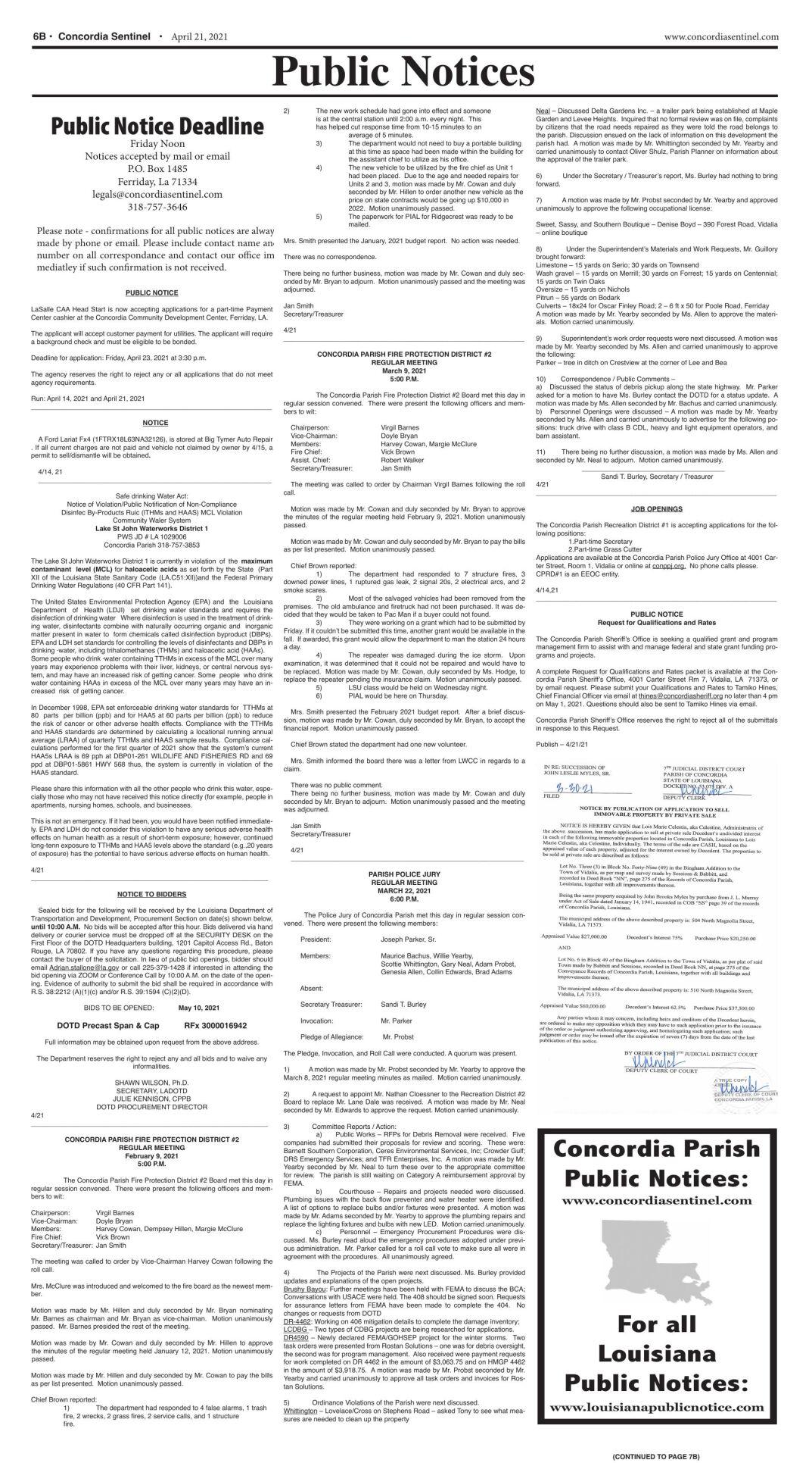 Public Notices - April 21, 2021