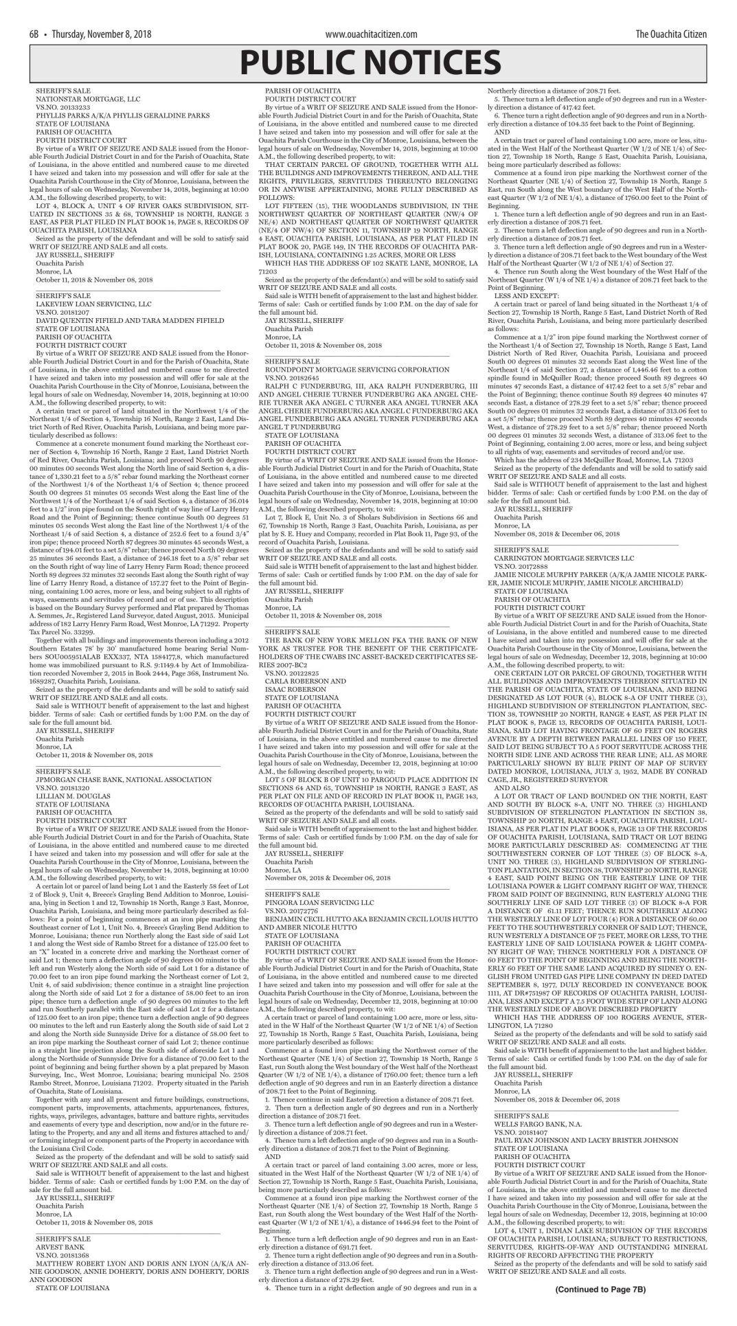 Nov. 8, 2018 Public Notice, click to download pages