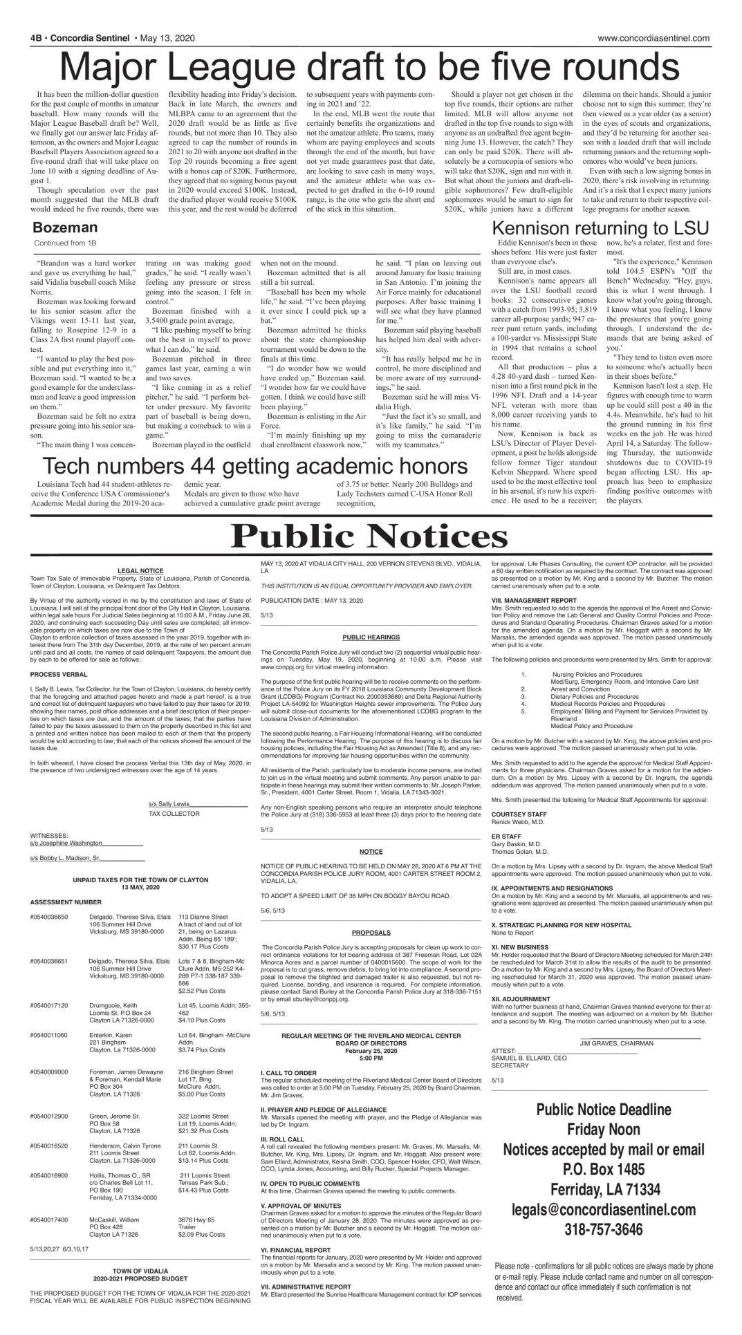Public Notices - May 13, 2020