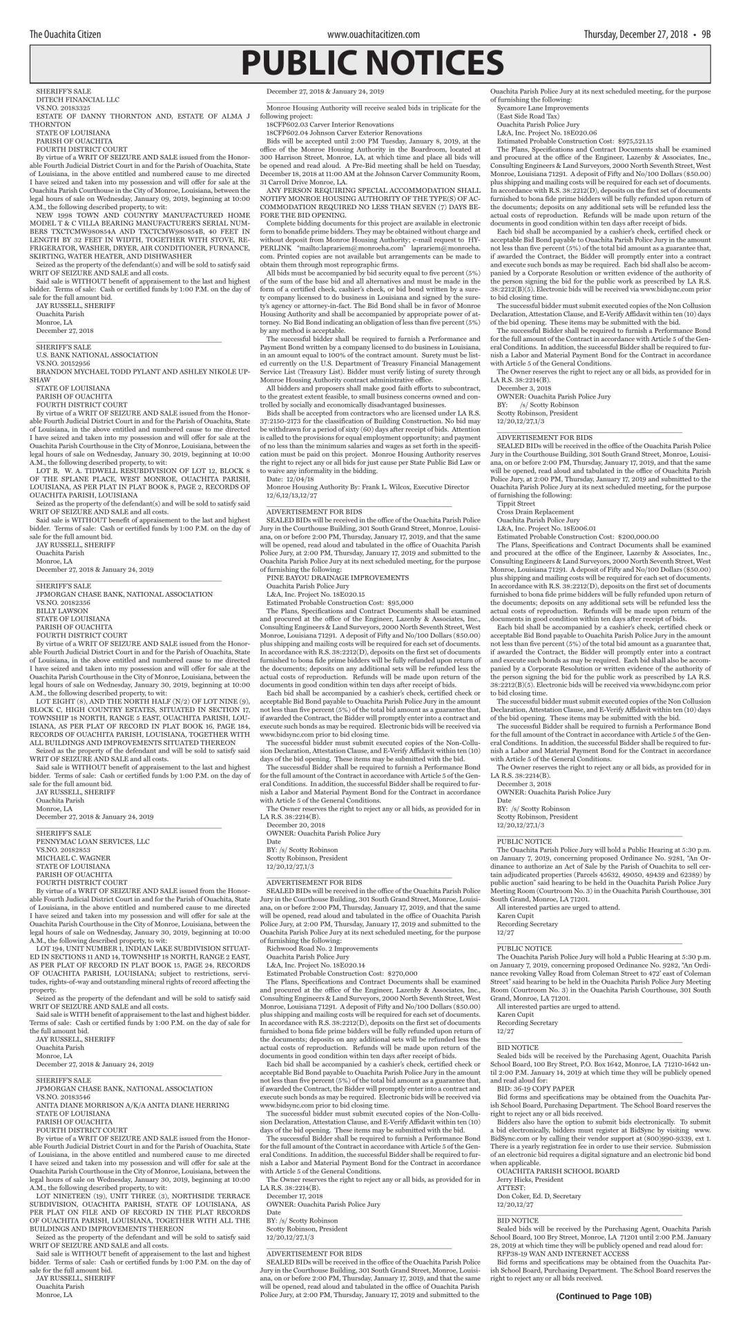 Dec. 27, 2018 Public Notices, click to download pages