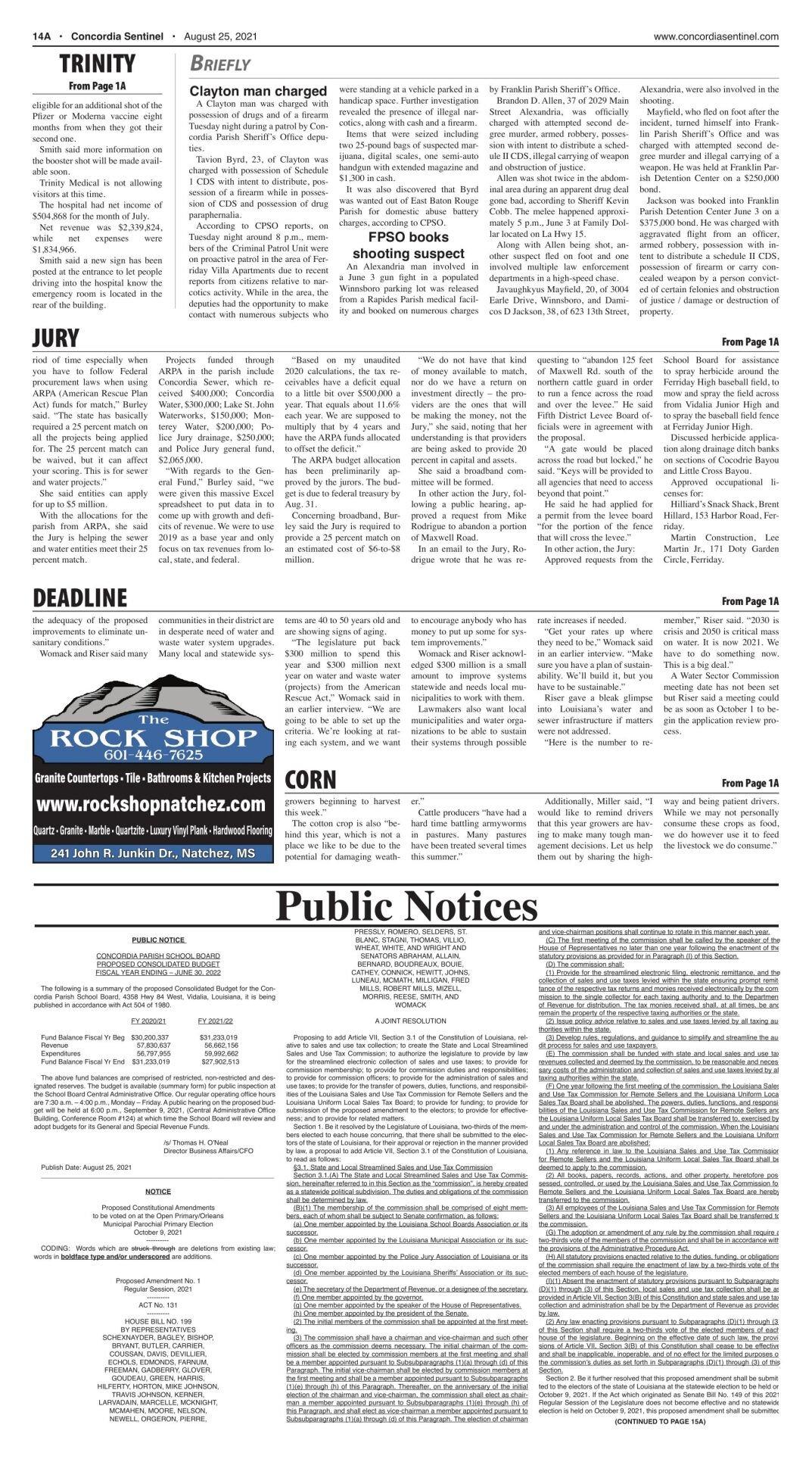 Public Notices - August 25, 2021