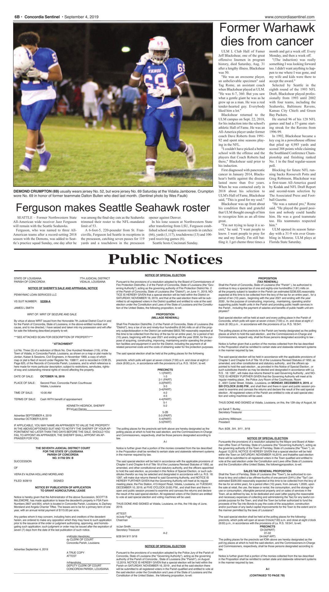 Public Notices - Sept. 4, 2019