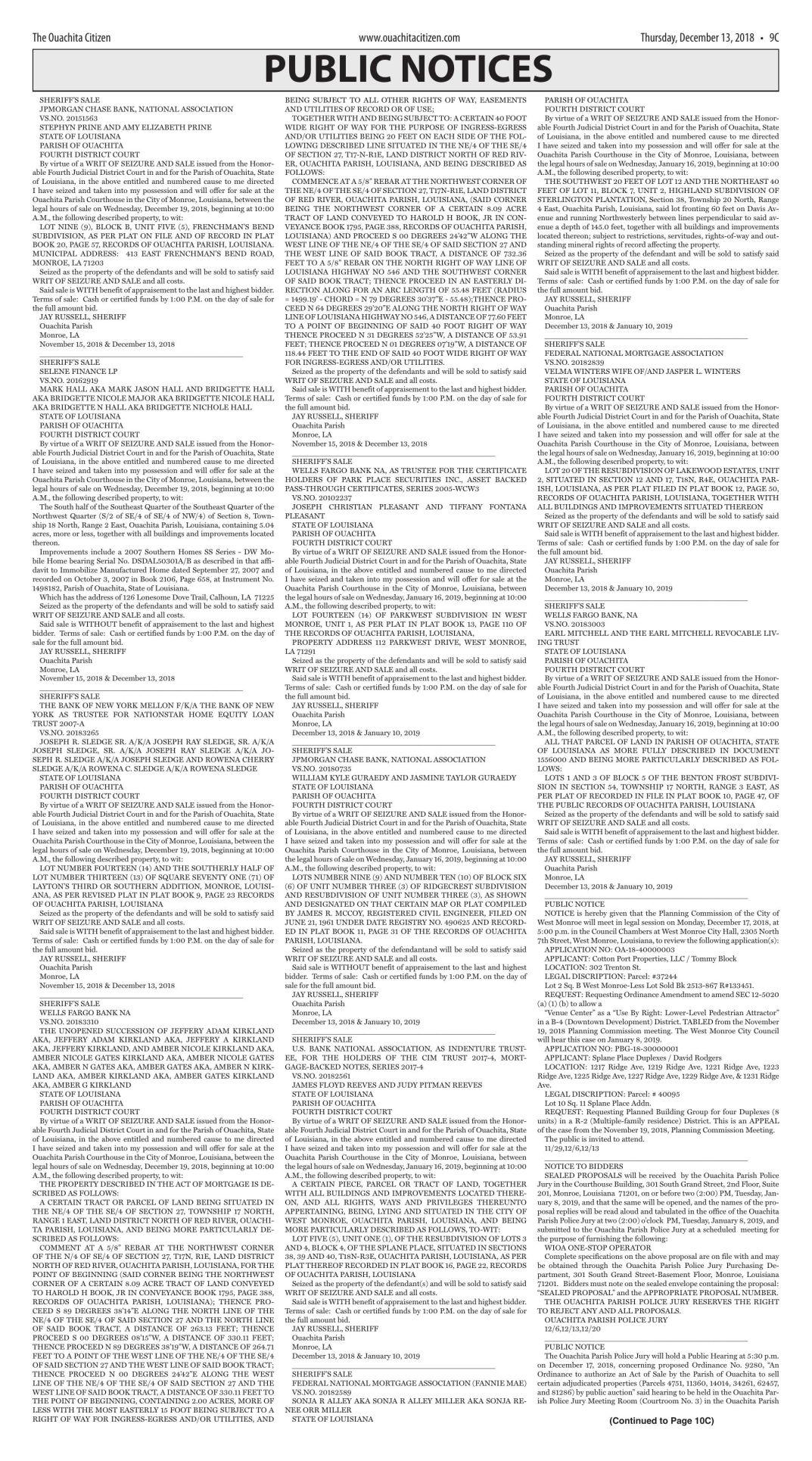 Dec. 13, 2018 Public Notices, click to download pages