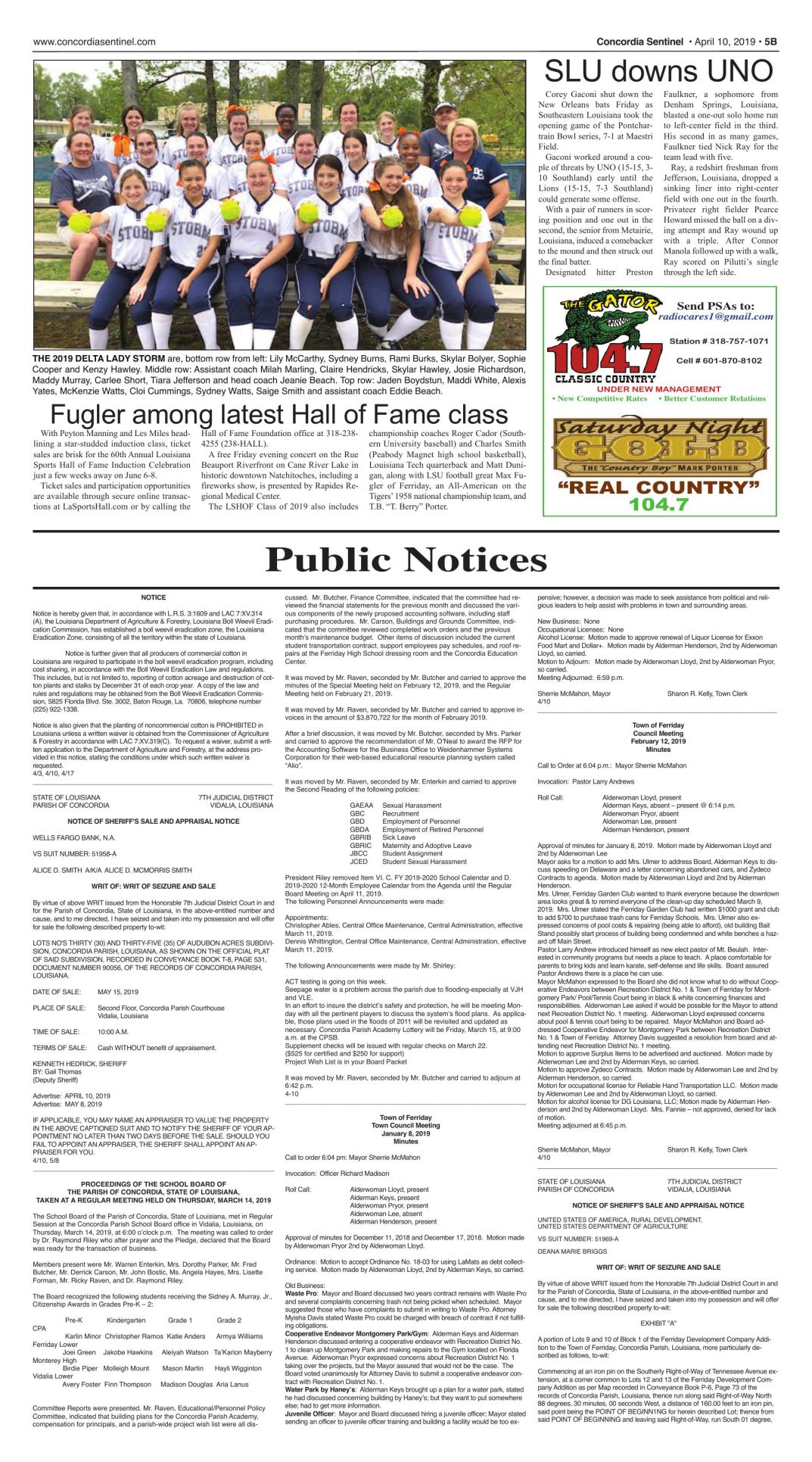 Public Notices - April 10, 2019
