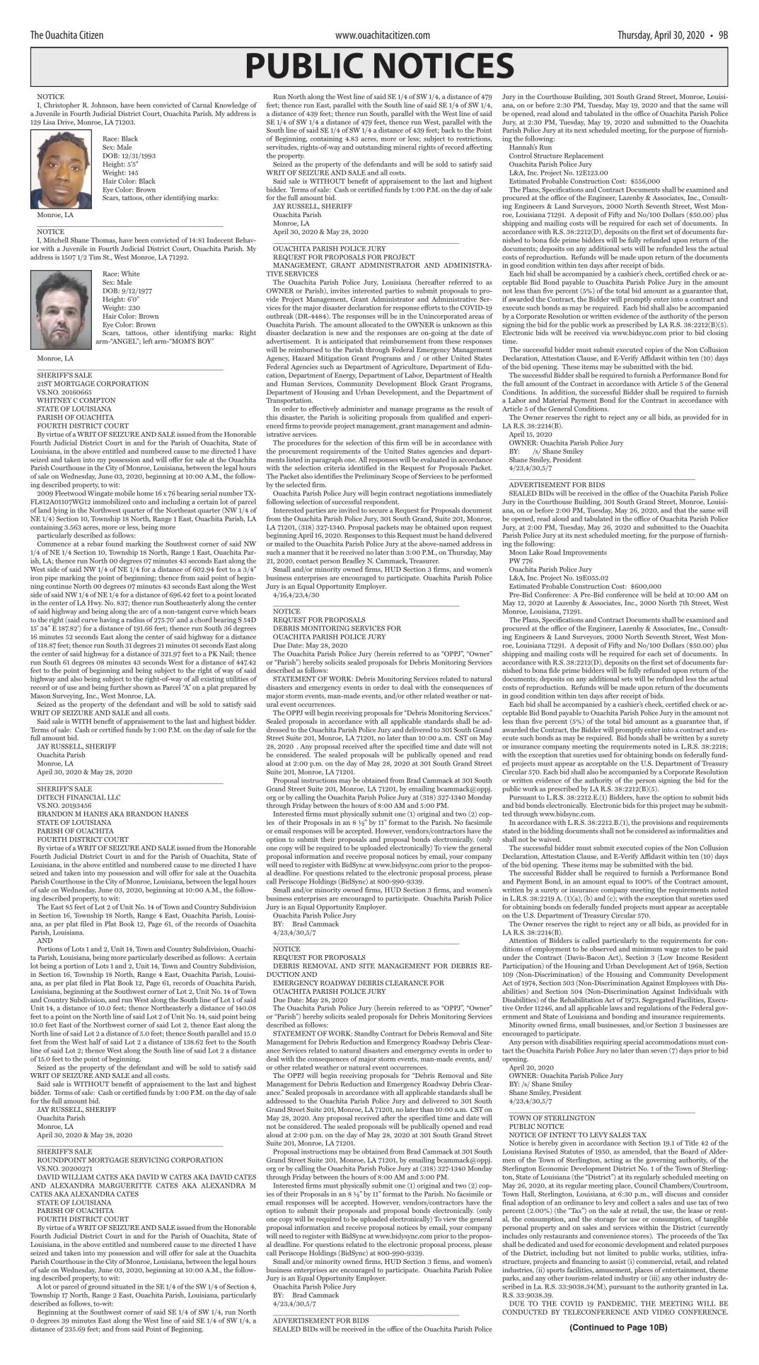 April 30, 2020 Public Notices, click to download pages