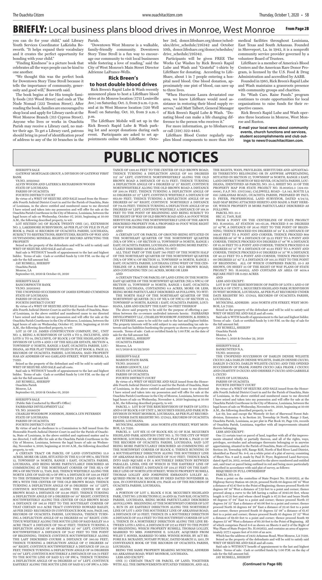Oct. 1, 2020 Public Notices, click to download pages