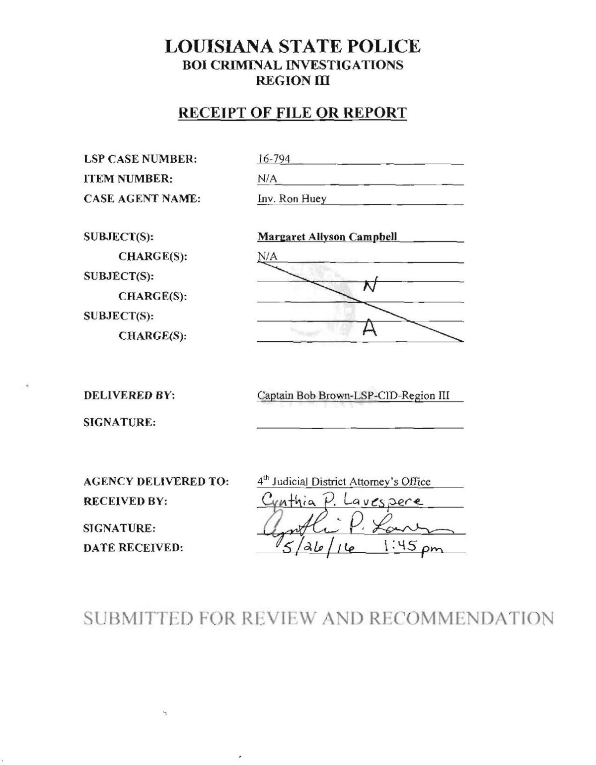 Louisiana State Police report on investigation of Allyson Campbell_file produced and redacted by AG Jeff Landry.pdf