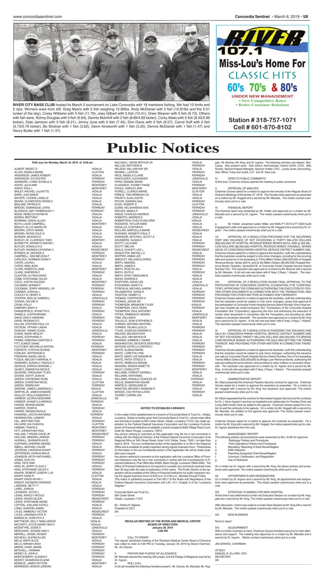Public Notices  - March 6, 2019