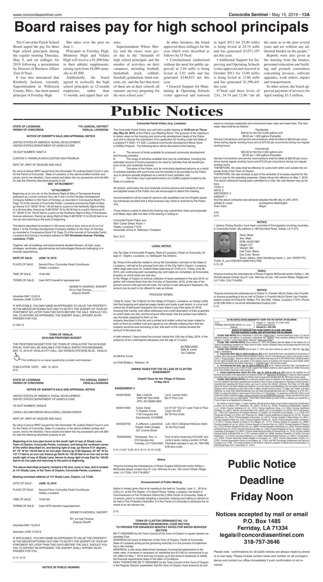 Public Notices - May 15, 2019