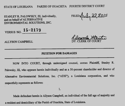 Stanley Palowsky suit against Allyson Campbell