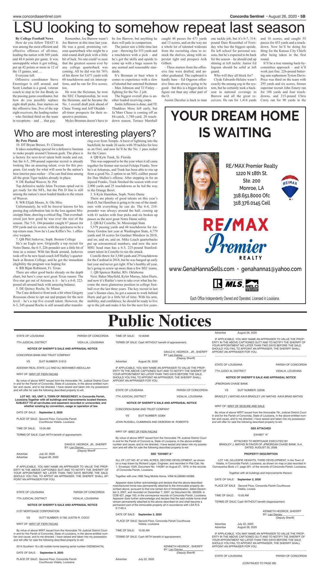 Public Notices - August 26, 2020