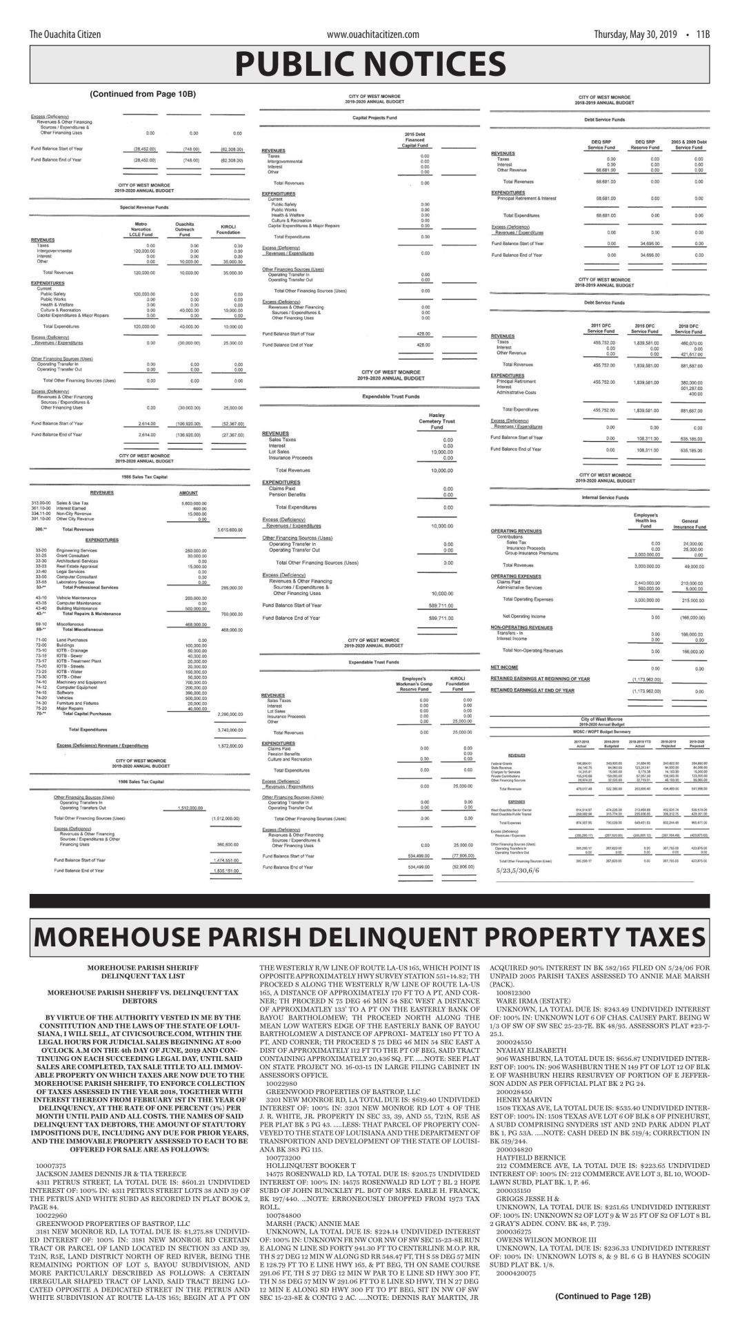 May 30, 2019 Morehouse Parish Delinquent Property Taxes, click to download pages