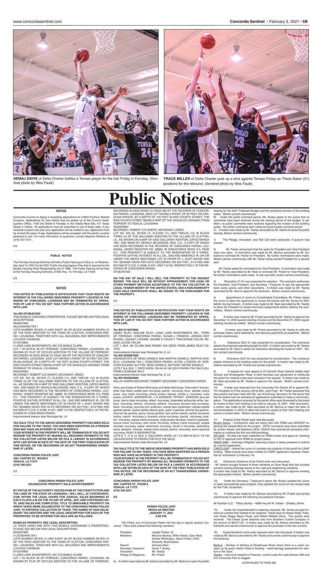 Public Notices - February 3, 2021