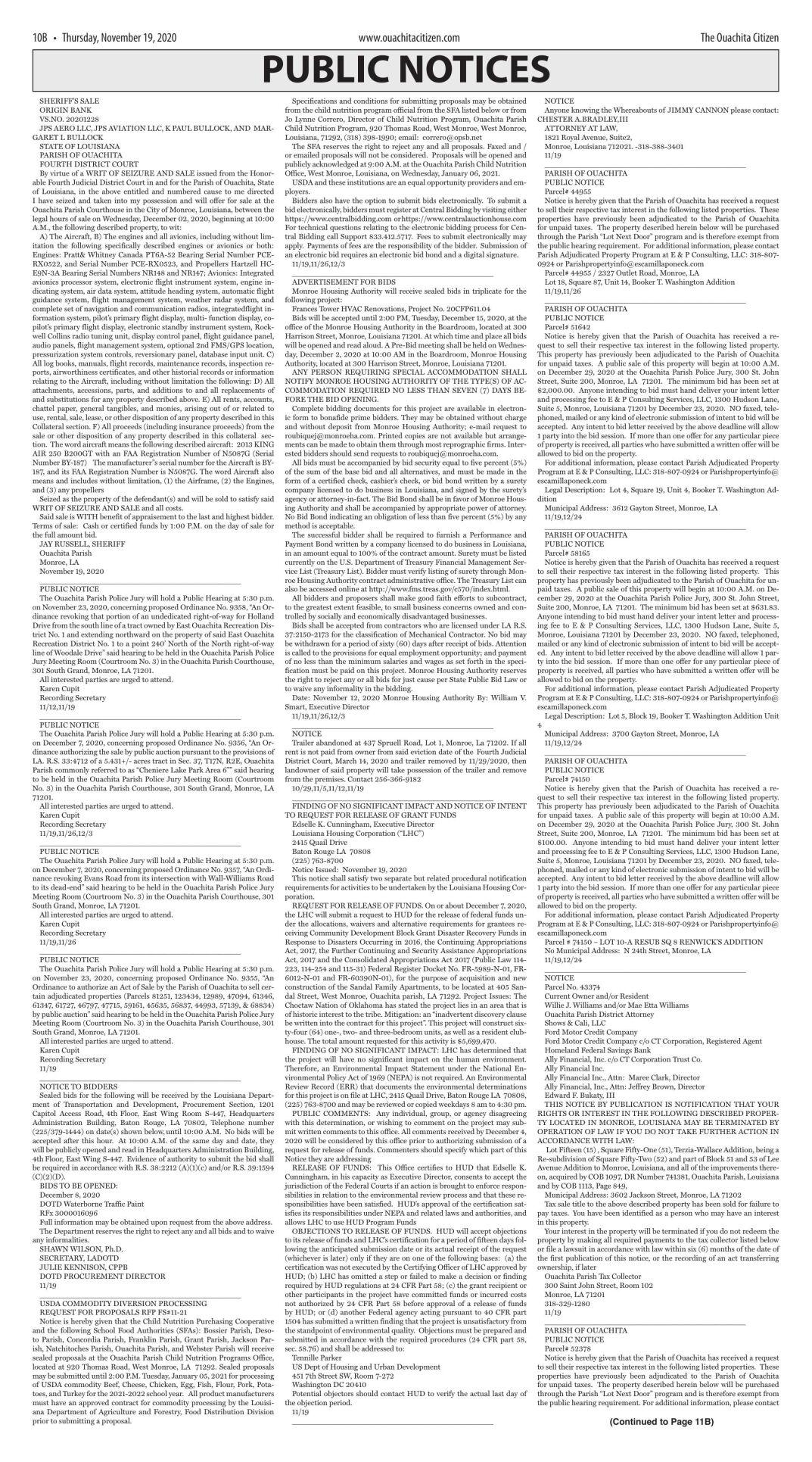 Nov. 19, 2020 Public Notices, click to download pages