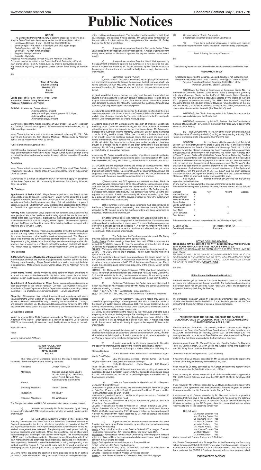 Public Notices - May 5, 2021