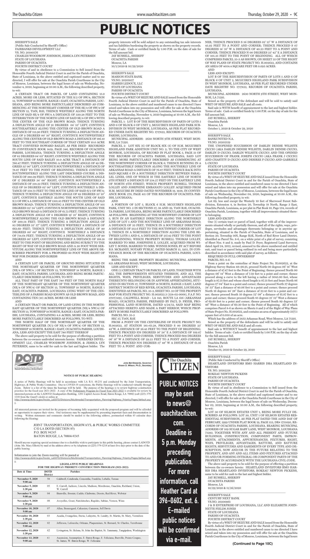 Oct. 29, 2020 Public Notices, click to download pages