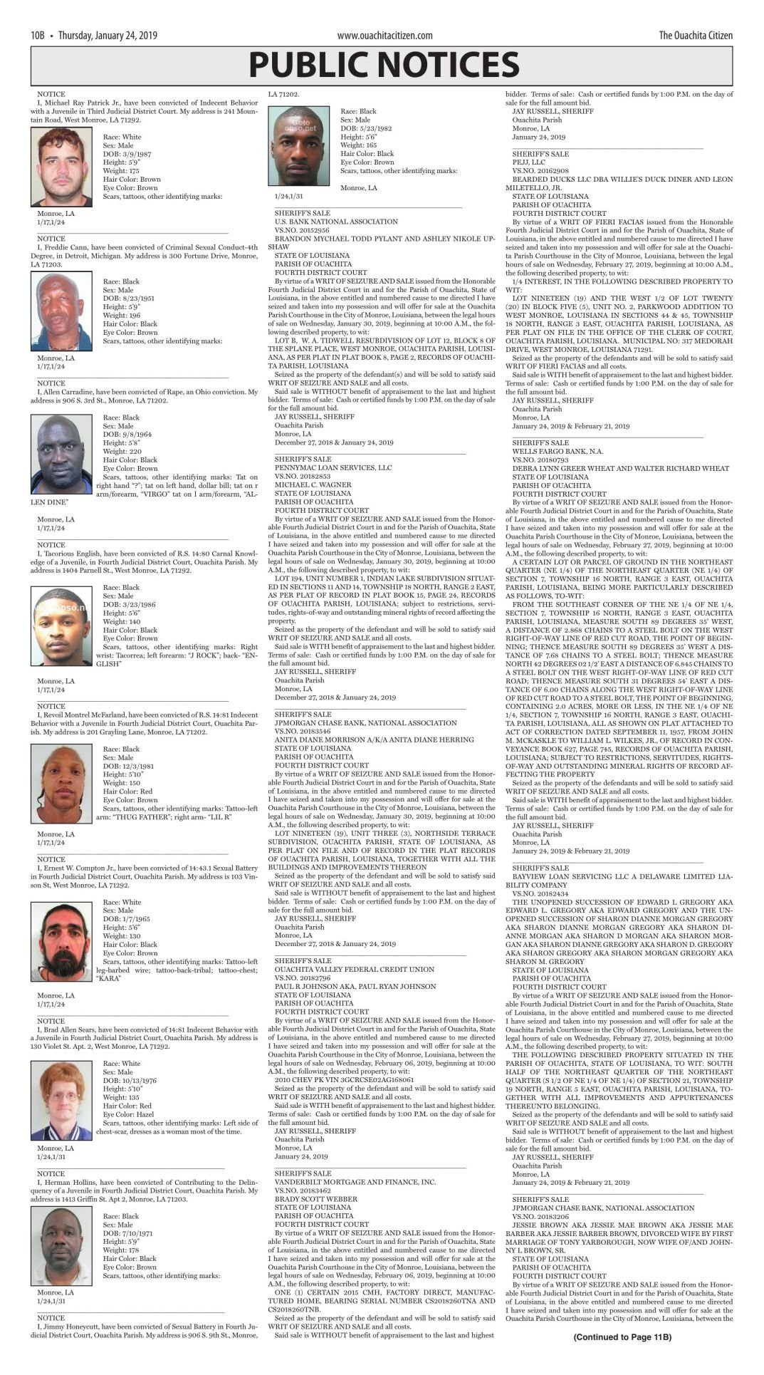Jan. 24, 2019 Public Notices, click to download pages