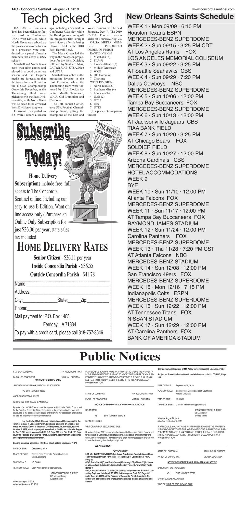 Public notices - August 21, 2019