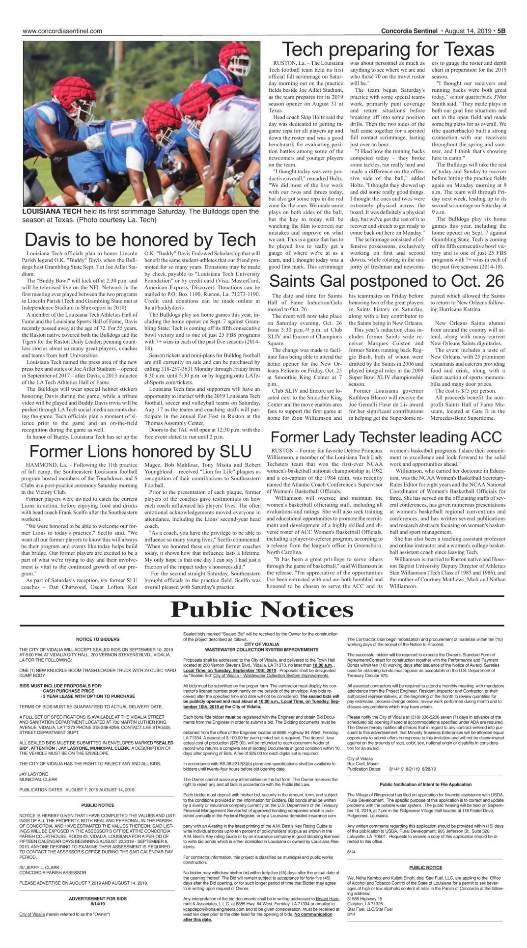 Public Notices - August 14, 2019