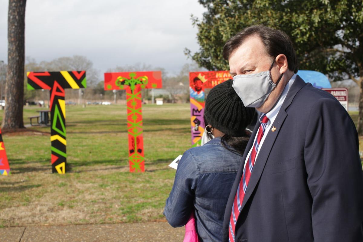 ULM President Ron Berry reviews Black Lives Matter art installation.JPG