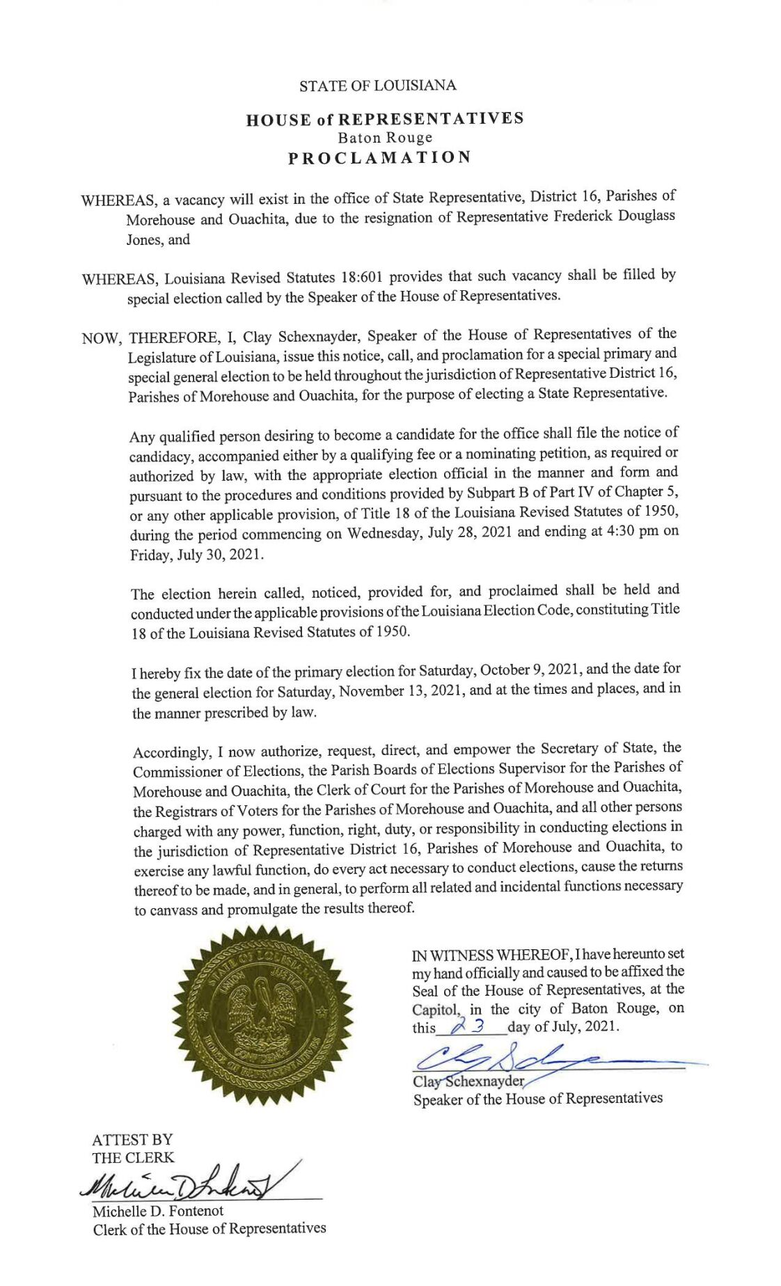 Proclamation - House District 16, online only Public Notice