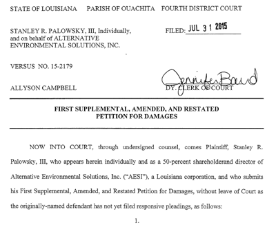 Find PDF of Palowsky's amended petition below