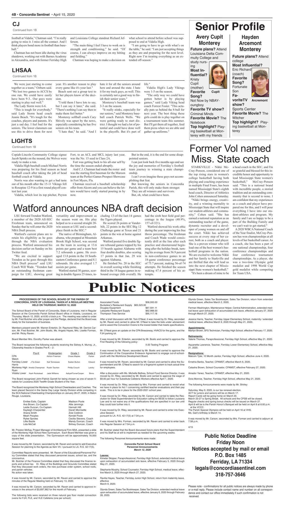 Public Notices - April 15, 2020