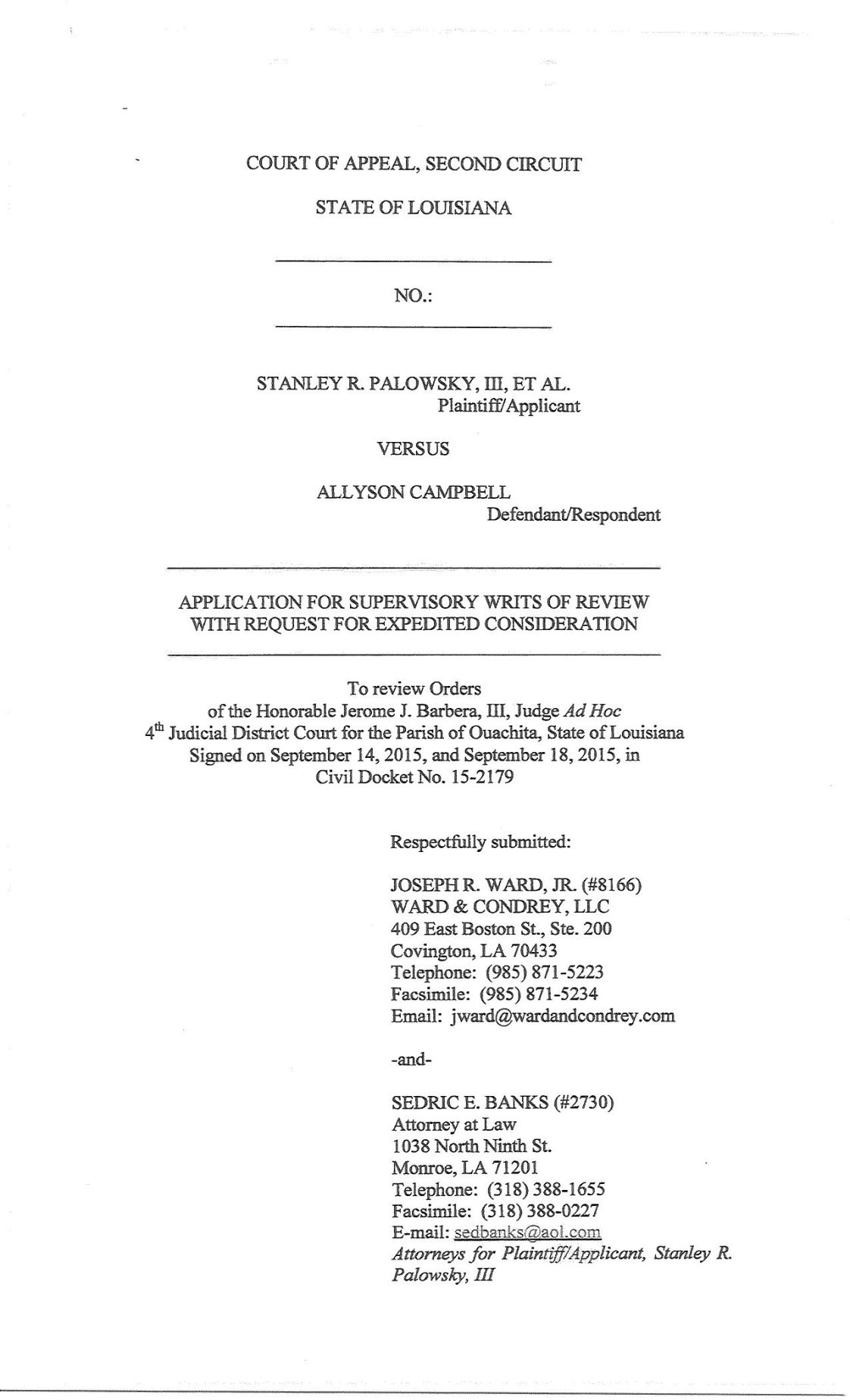 Palowsky vs Campbell writ to 2nd Circuit Court pdf