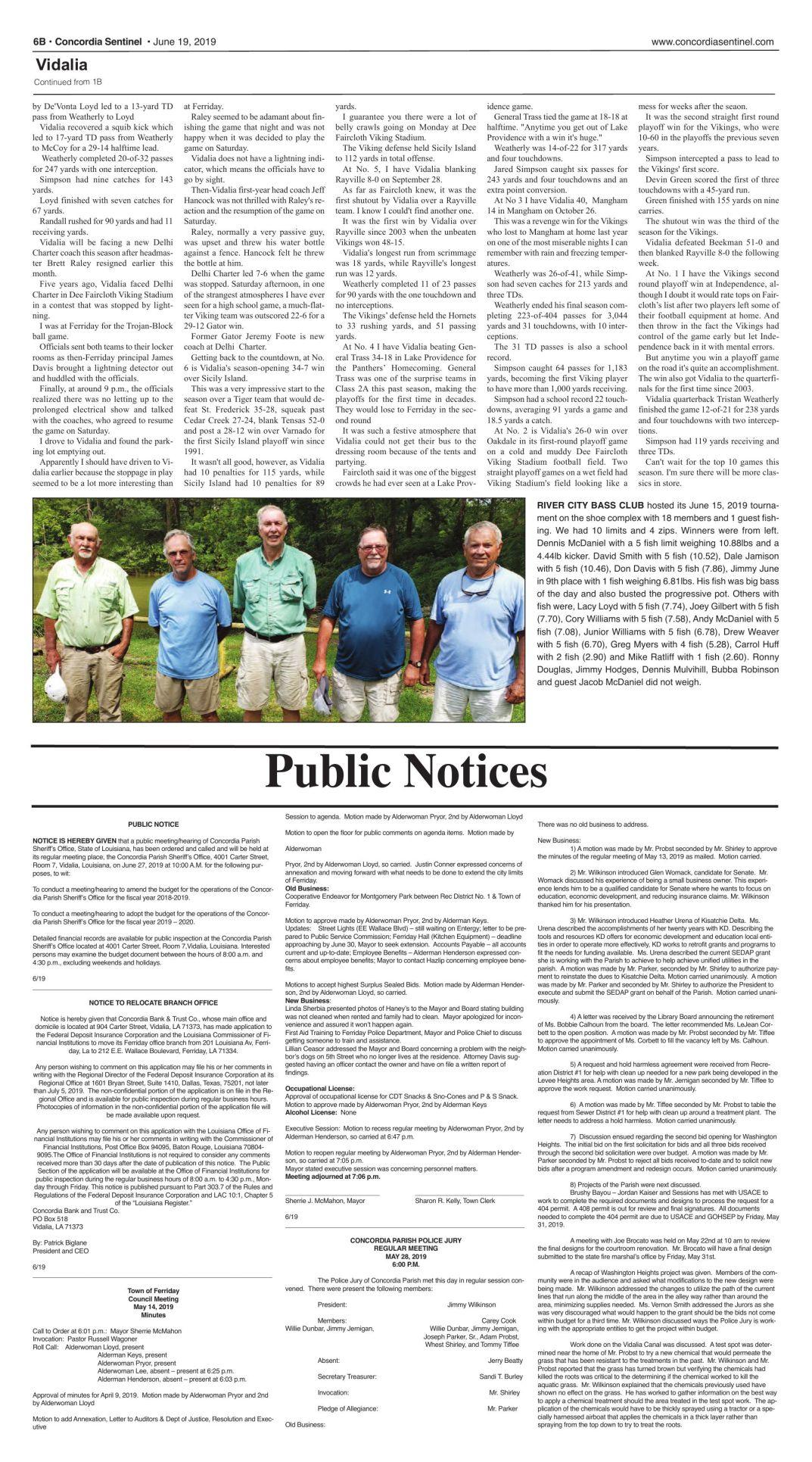 Public Notices - June 19, 2019 | The Concordia Sentinel