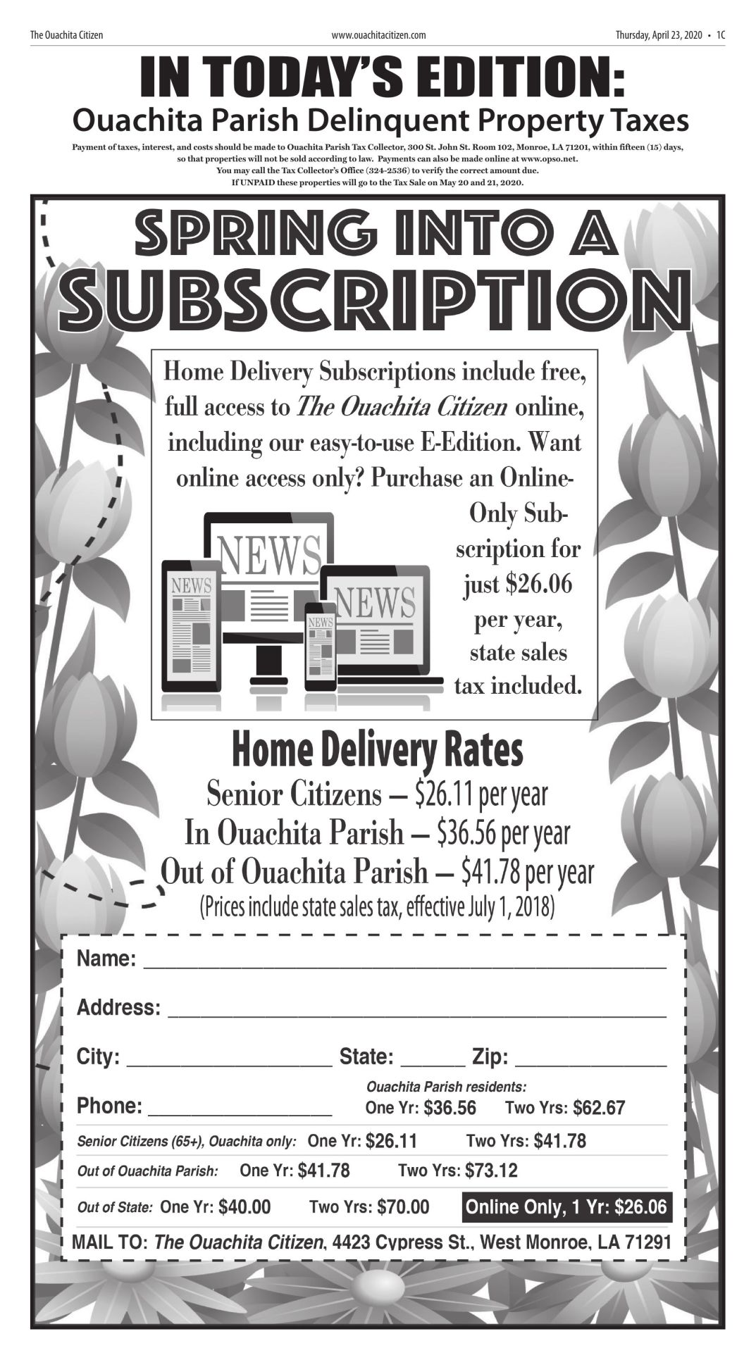 April 23, 2020 Ouachita Parish Delinquent Taxes, click to download pages