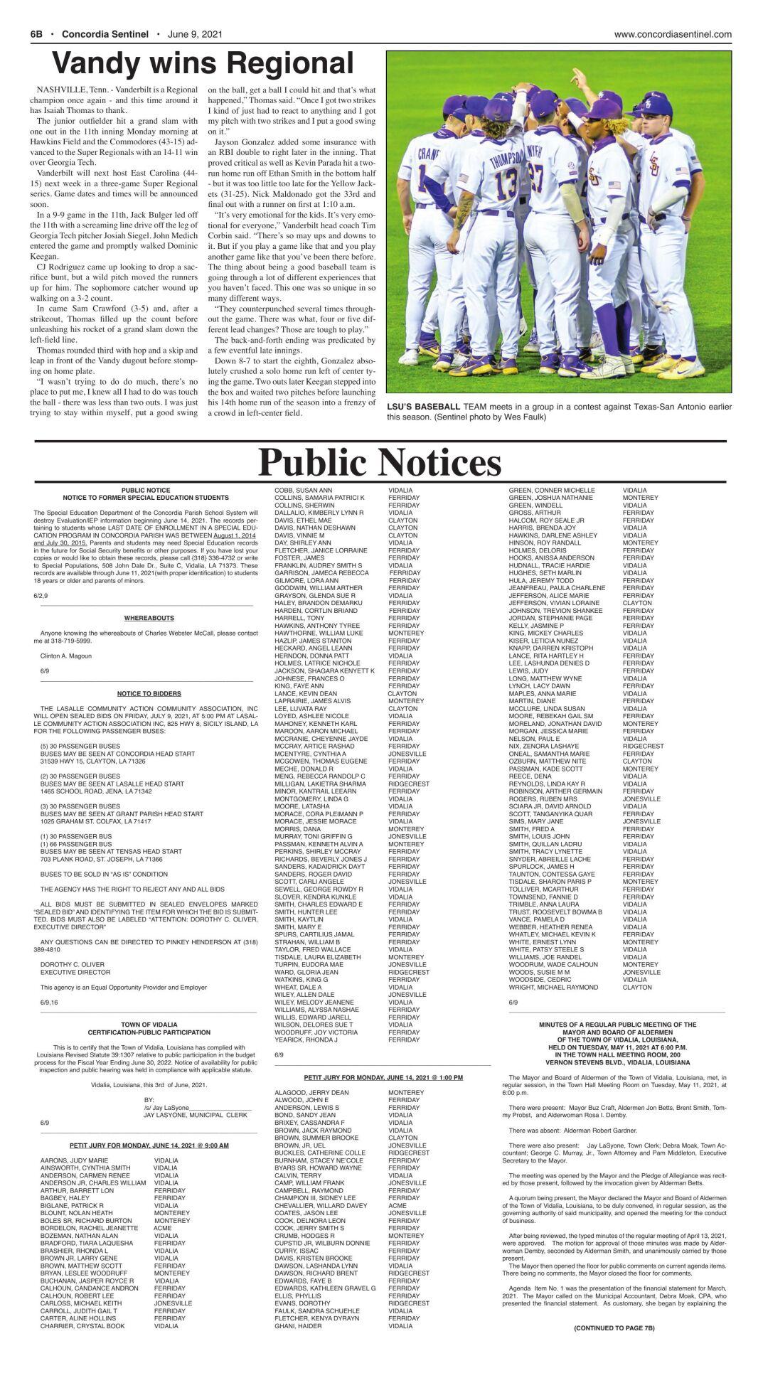 Public Notices - June 9, 2021