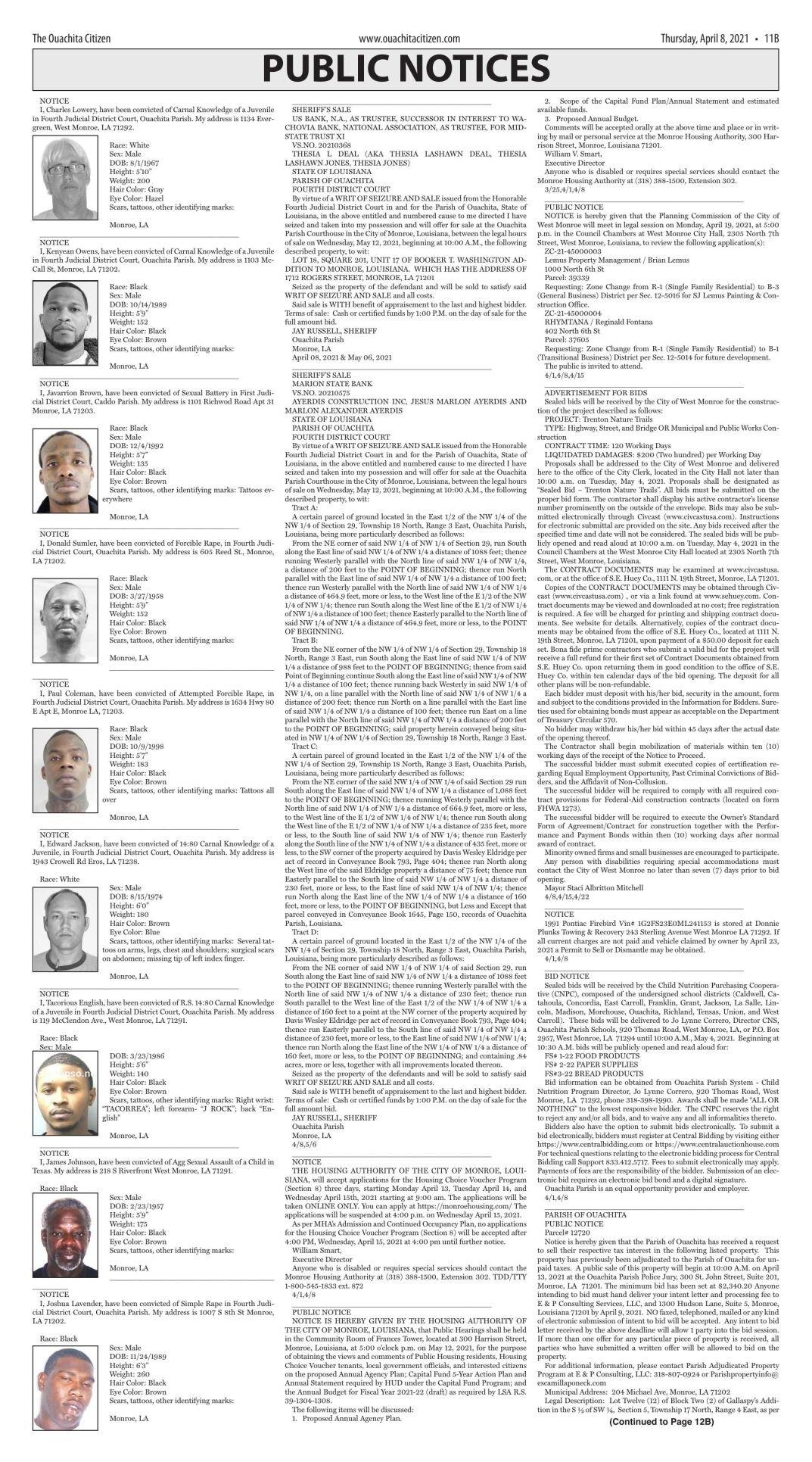 April 8, 2021 Public notices, click to download pages