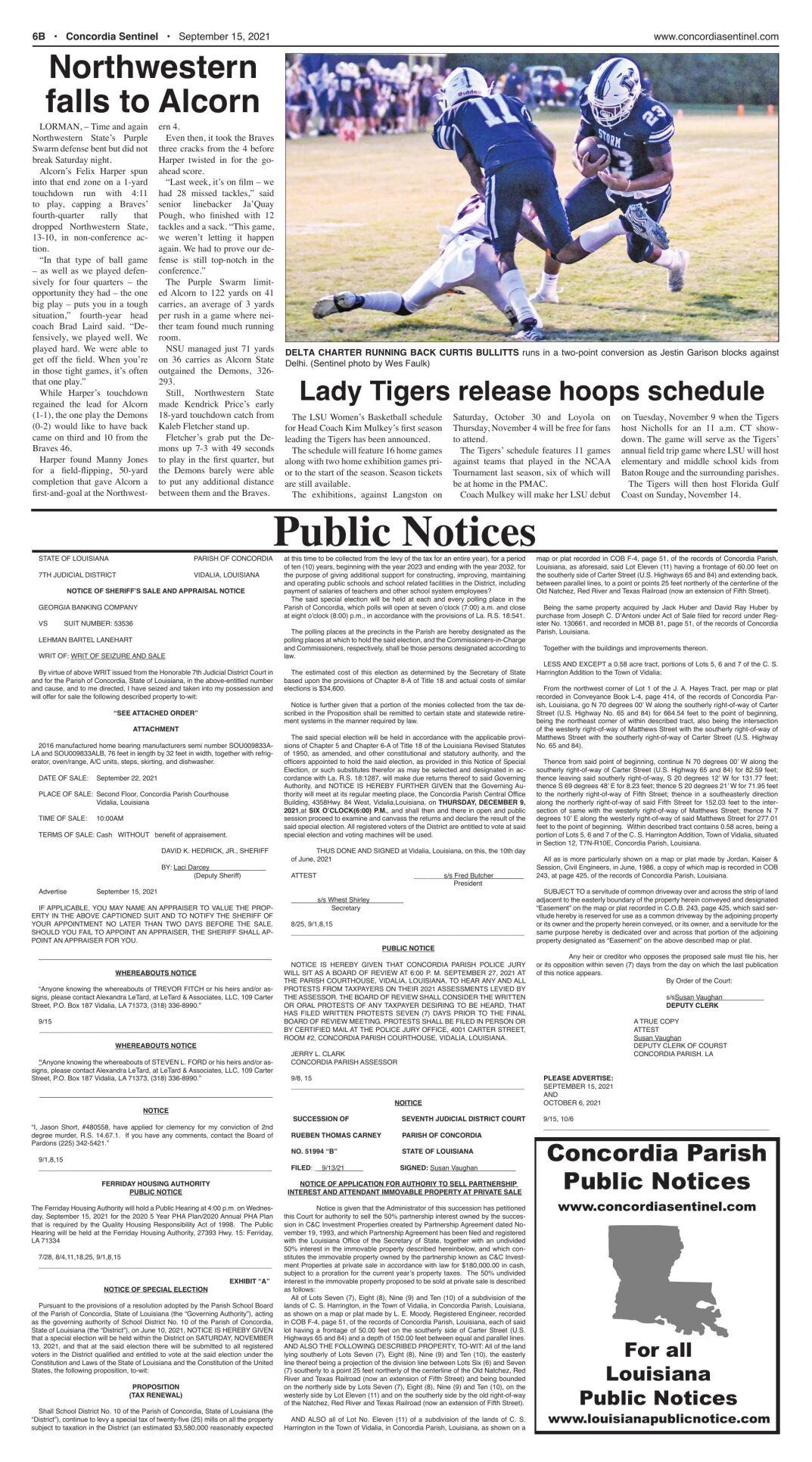 Public Notices - September 15, 2021
