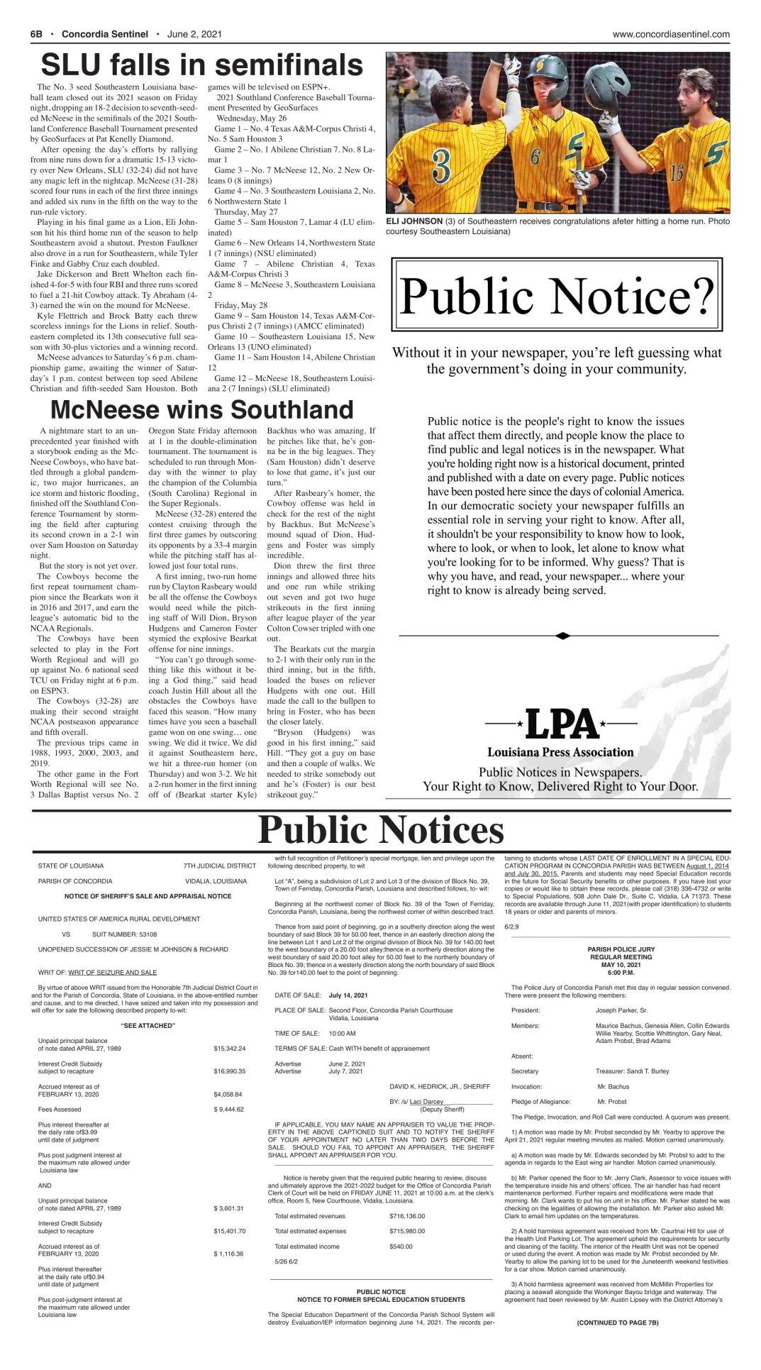 Public Notices - June 2, 2021