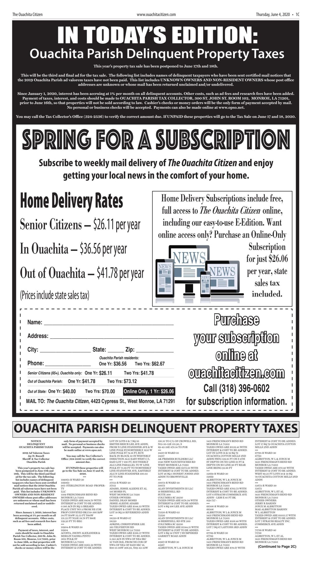 June 4, 2020 Ouachita Parish Delinquent Tax Notices, click to download pages
