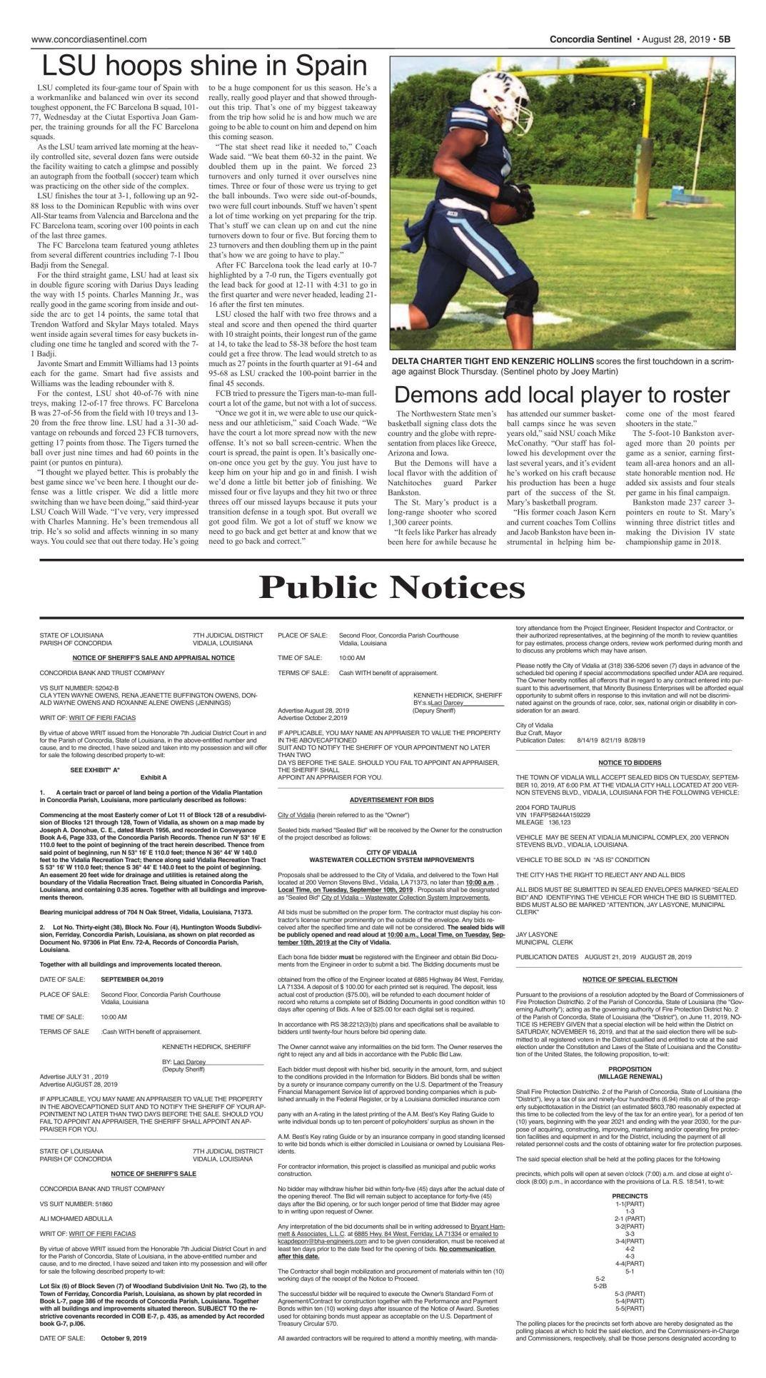 Public Notices - August 28, 2019