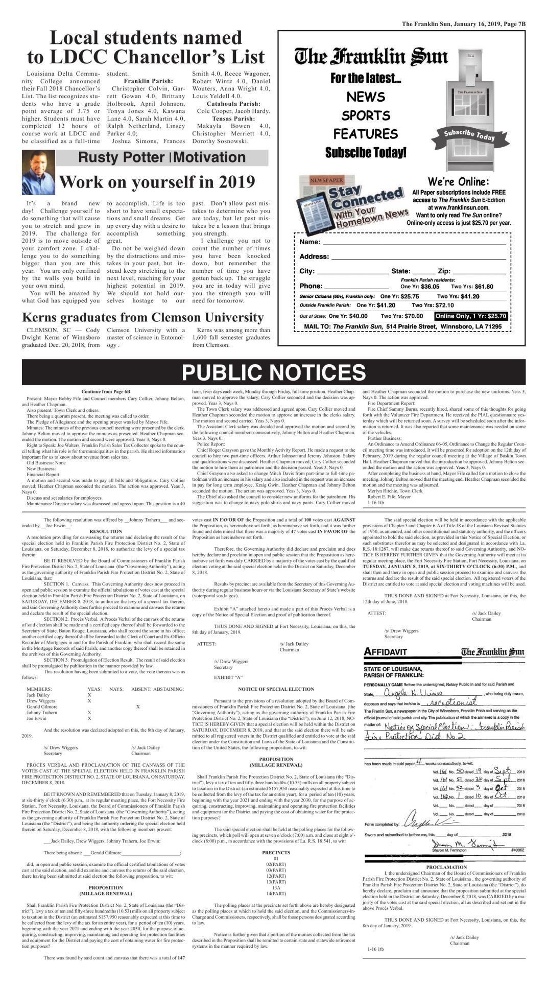 PUBLIC NOTICE 1-16