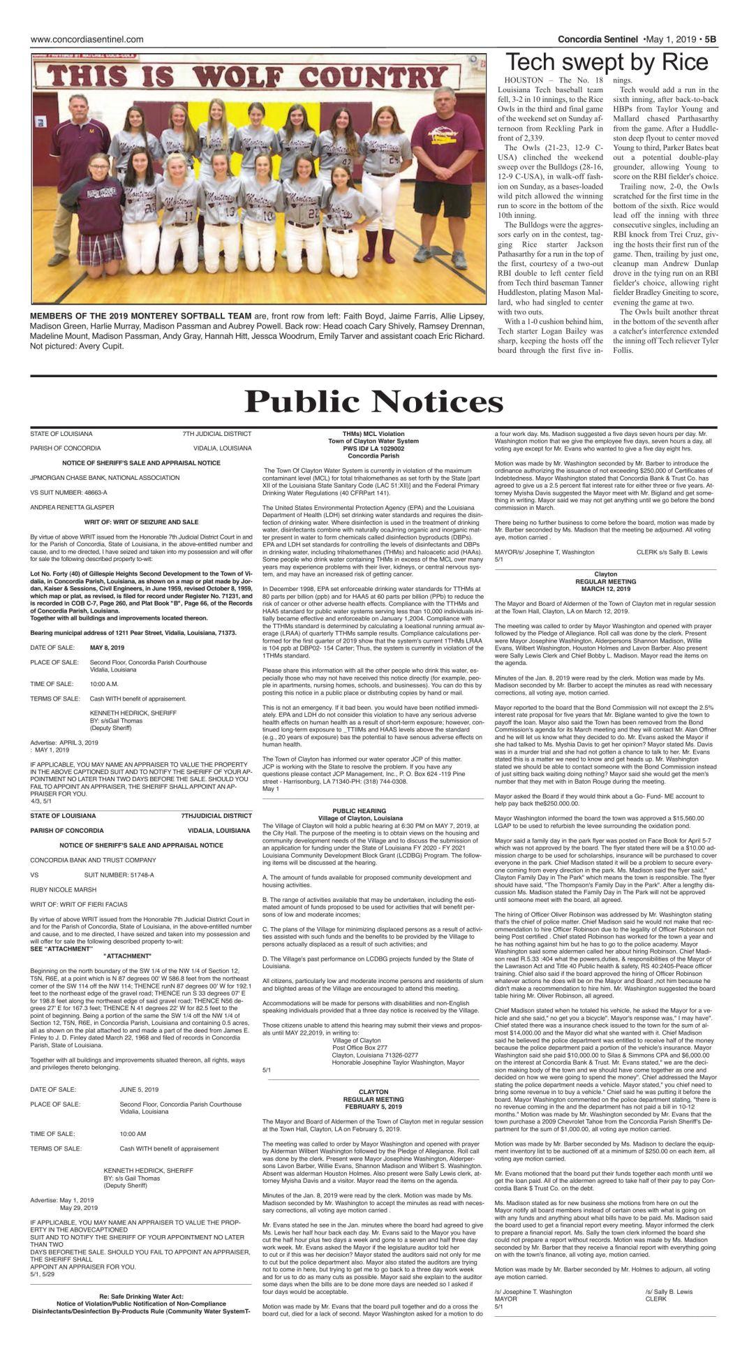 Public notices - May 1, 2019