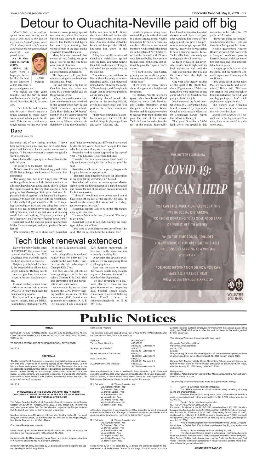 Public Notices - May 6, 2020
