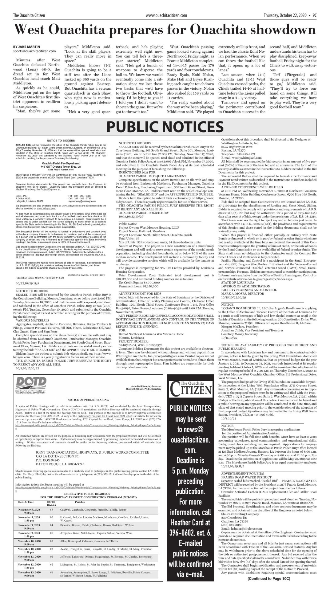Oct. 22, 2020 Public Notices, click to download pages