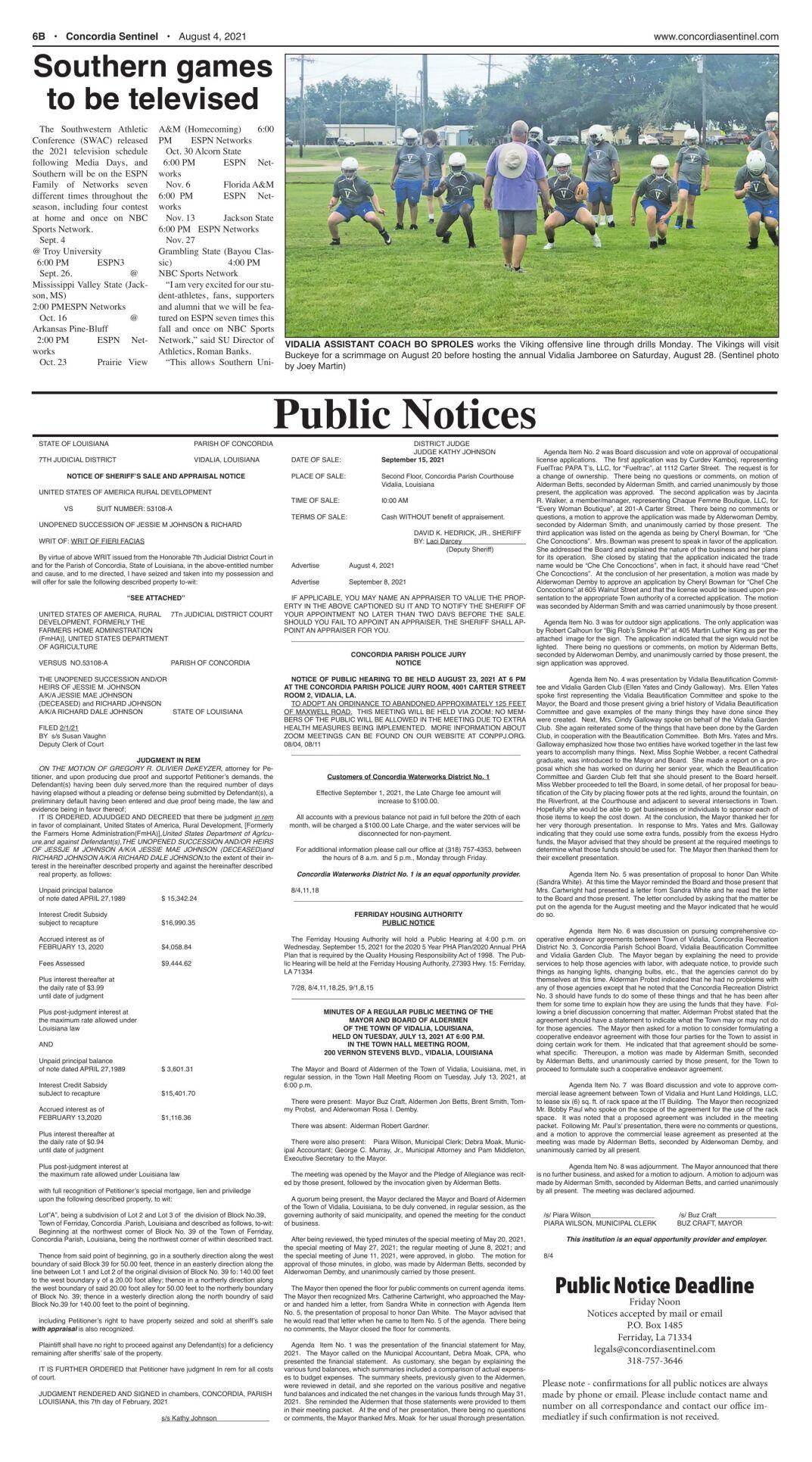 Public Notices - August 4, 2021