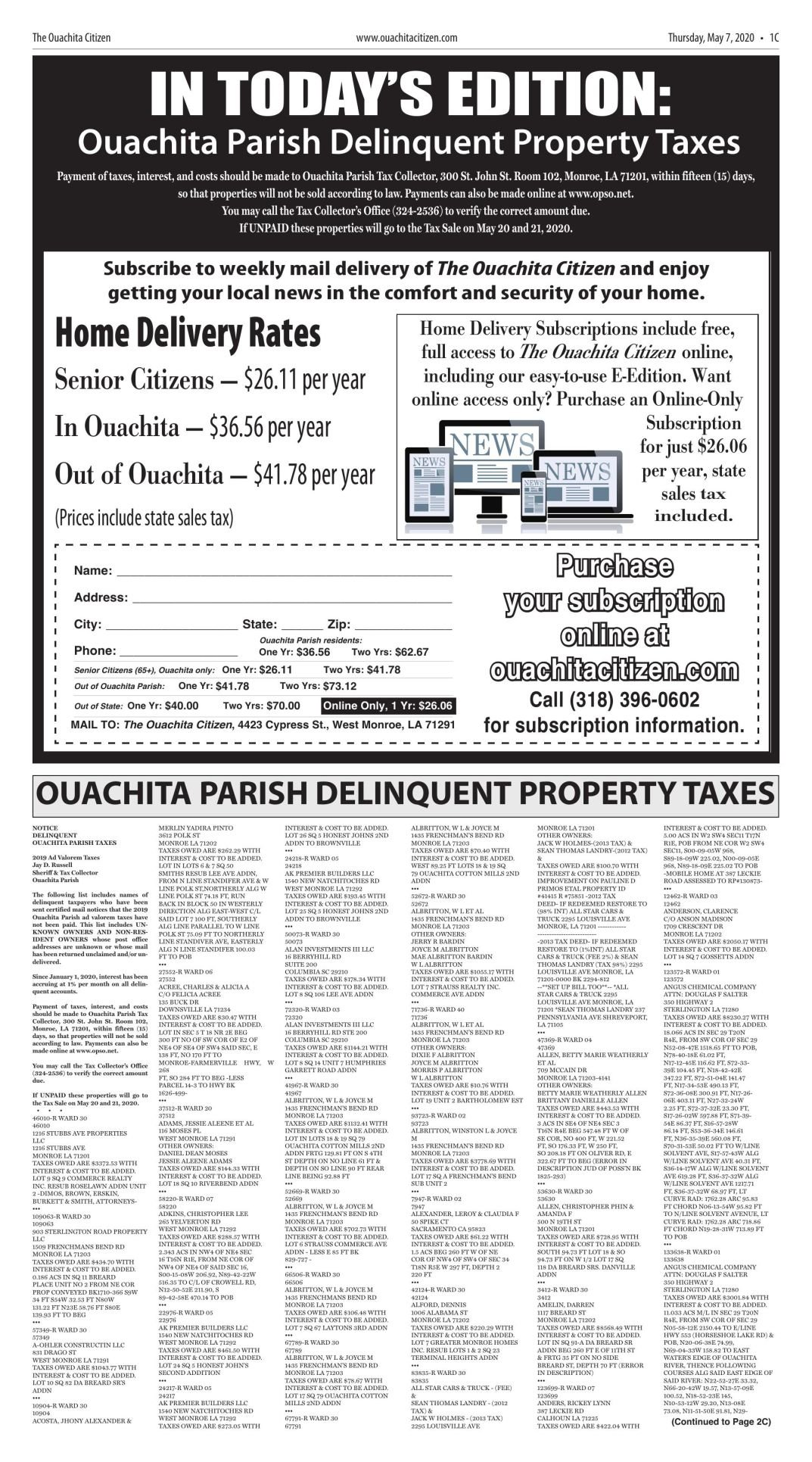 May 7, 2020 Delinquent Tax Notices, click to download pages