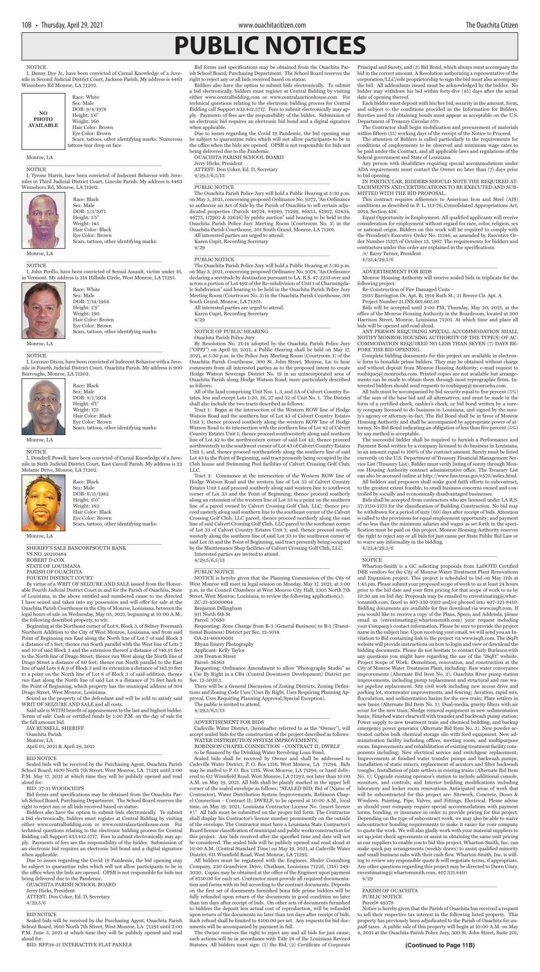 April 29, 2021 Public Notices, click to download pages