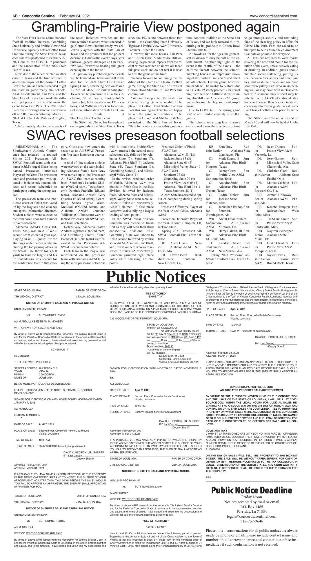 Public Notices - February 24, 2021