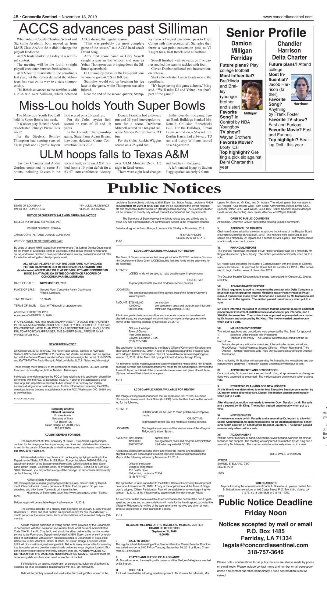 Public Notices - Nov. 13, 2019