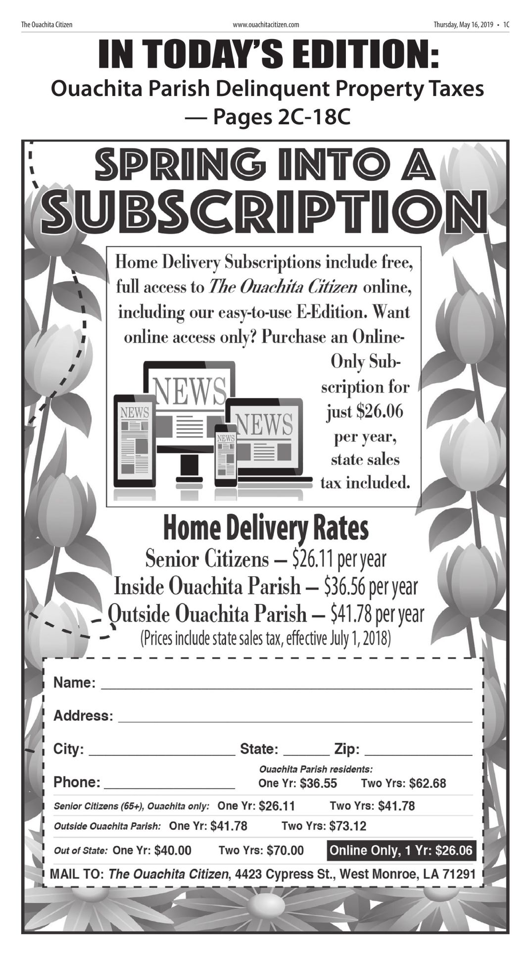 May 16, 2019 Ouachita Parish Delinquent Property Taxes, click to download pages